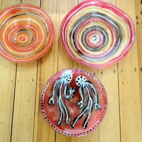 Ngatji Glass - waterhole symbols and spirit figures