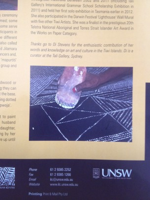 Di wrote an article about the work of Tiwi Artist, Natalie Puantulura