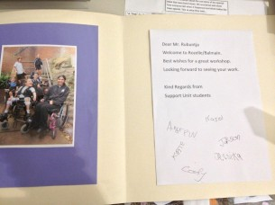 Card presented to Mervyn to welcome him