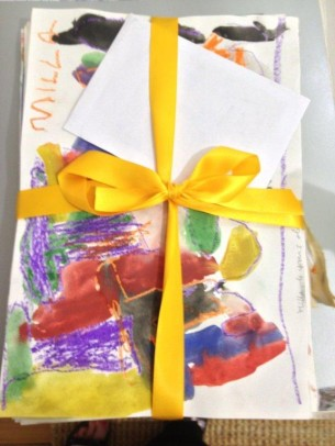 Artwork created by local children from Artspark to welcome Mervyn Rubuntja