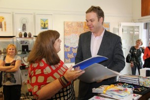 Di talking with Jamie Parker, the State Member for Balmain, who opened the exhibition