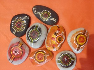 """Ripple Effect"" handpainted stones by Peter Watt"
