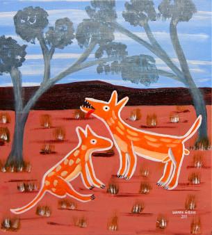 Dingu - The Dingos, Wanda Gibson  2013  Acrylic on Linen 46 x 56cm  $725
