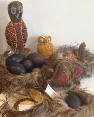 Rhonda Sharpe's Owl, Dulcie Sharpe's Birds, Tjanpi Baskets