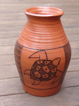 Jilamara - Clay Pot by Robert Puruntatameri at Tali Gallery