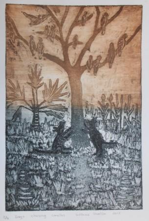 "Sid Bruce Short Joe, etching ""Dogs Barking at Corella's"""