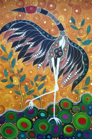 Brolga & the Golden Sky Melanie Hava 2011 Mixed Media 122.5x81.5cm