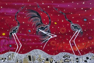 Brolgas Dancing Melanie Hava 2014 Mixed Media 101.5x152.5cm