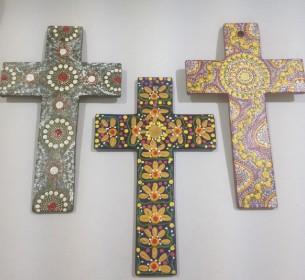 Handpainted crosses Tali Aboriginal Art Gallery Sydney