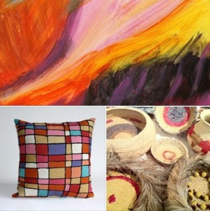 Better World Arts Cushion Tjanpi Contemporary Hopevale Painting at Tali Aboriginal Art Gallery