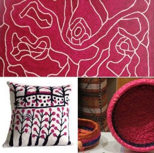 Pink Aboriginal Paintings Better World Arts Cushion Cover and Tjanpi at Tali Gallery