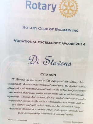 Rotary Award to Tali Gallery