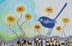Blue Fairy Wren Melanie Hava 2015 140x91cm Mixed Media