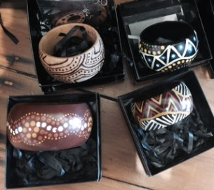 Handpainted bangles with Aboriginal Art at Tali Gallery