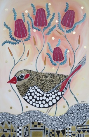 Melanie Hava Red Earred Finch at Tali Gallery