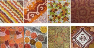 group-of-30x30cm-aboriginal-paintings-at-tali-gallery-rozelle
