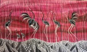 melanie-hava-pink-dancing-brolgas-at-tali-gallery