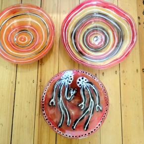 Ngatji Glass - waterhole symbols and spirit figures